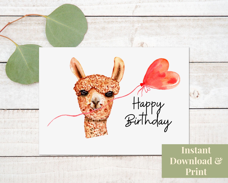 Alpaca Birthday Card Happy Birthday Card Digital Download Etsy Happy Birthday Cards Birthday Cards Birthday Card Printable