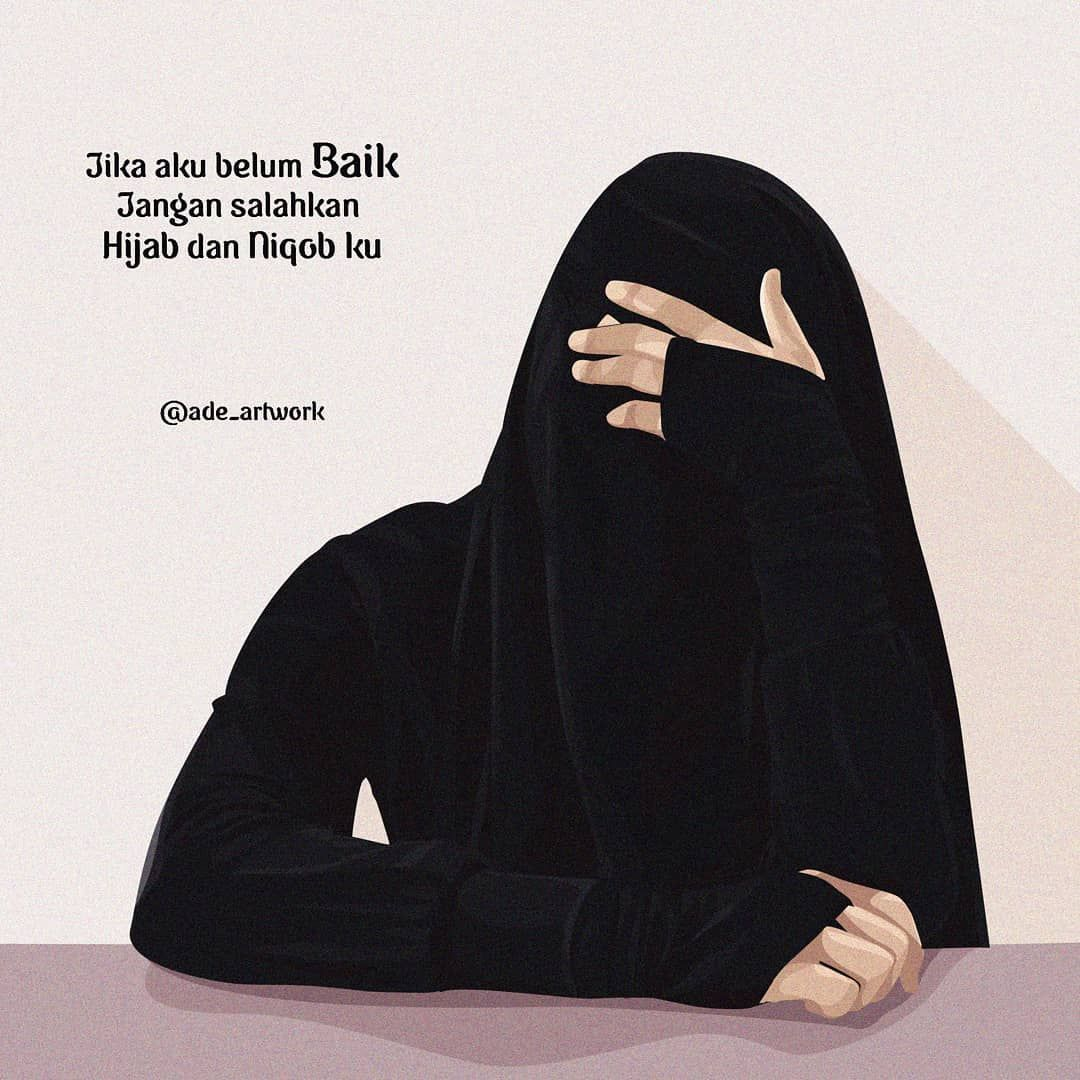 Gambar Kartun Muslimah Bercadar Bersabar hijrah Anime