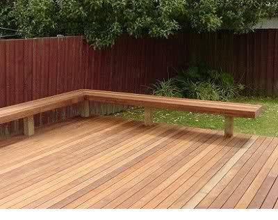 Simple L Shape Wood Bench On Deck Garden Bench Seating Deck Bench Decks Backyard