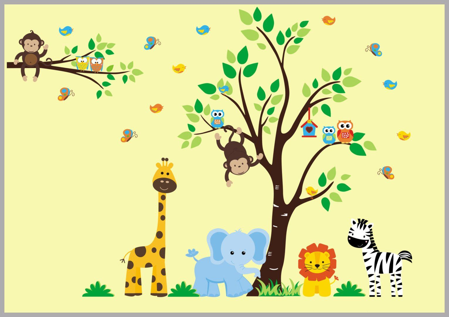 Baby Room Wall Stickers - Boys and Girls Wall Decals - Animal Themed ...