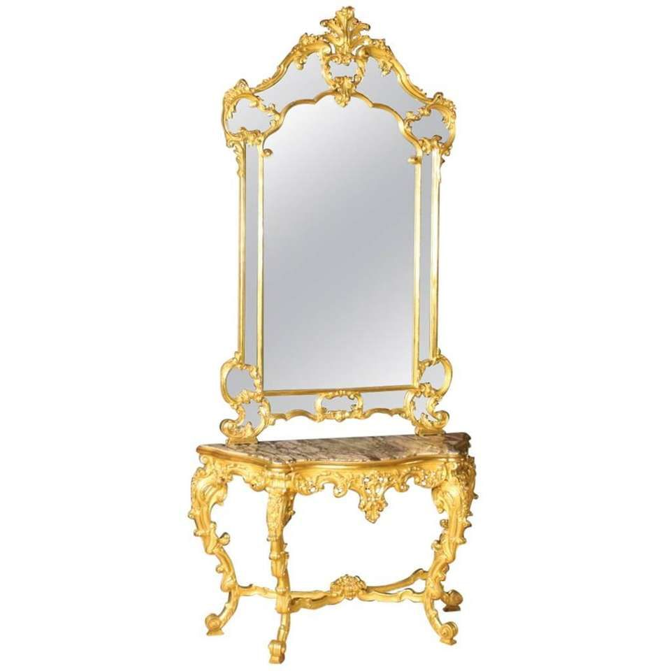 20th Century Gilded Console Table With Mirror In Louis Xv Style  # Muebles Federici