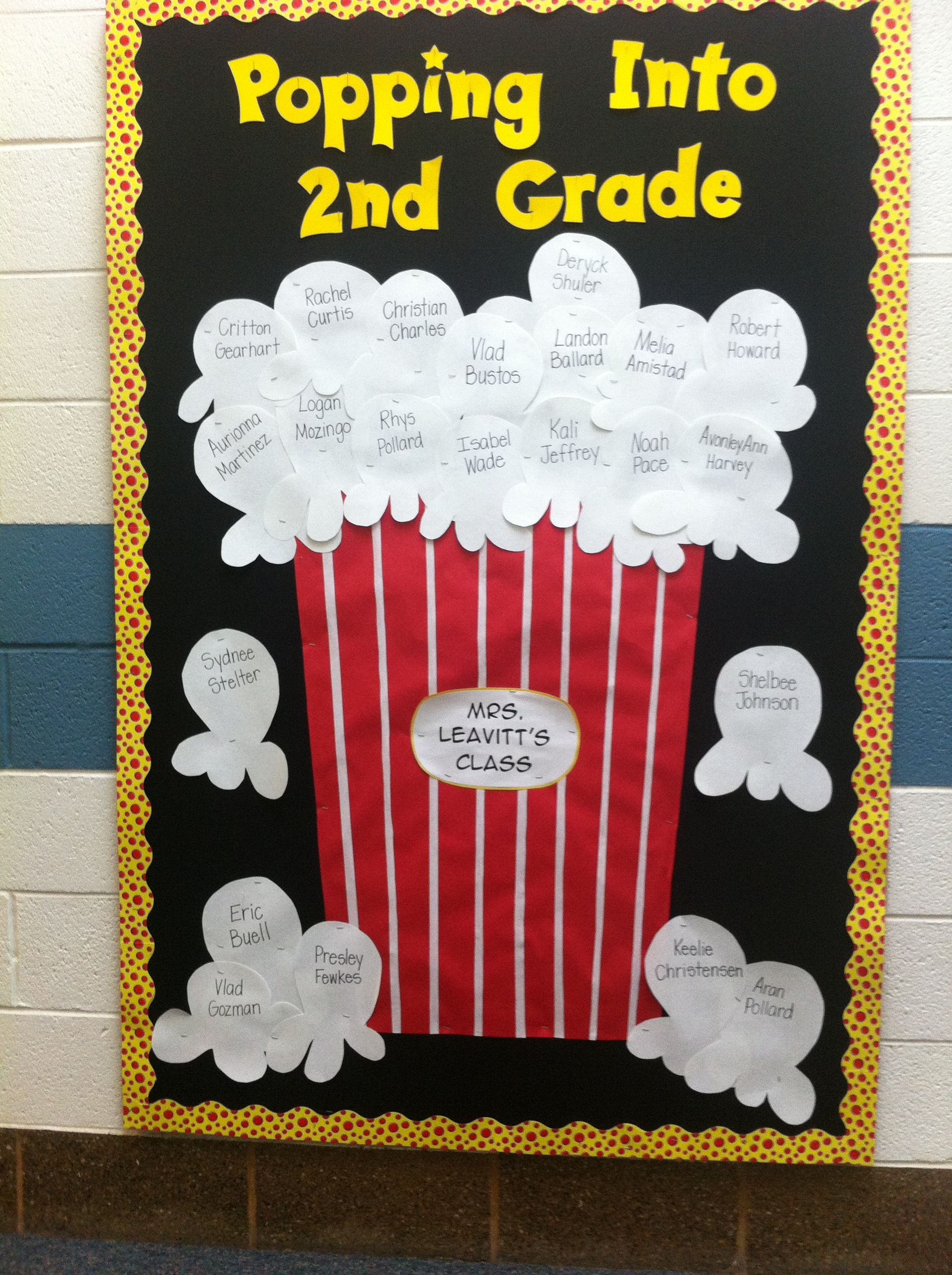 Back to school popcorn bulletin board