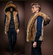New Men's Faux Rabbit Fur Hooded Coat Jacket Winter Warm Gilet ...