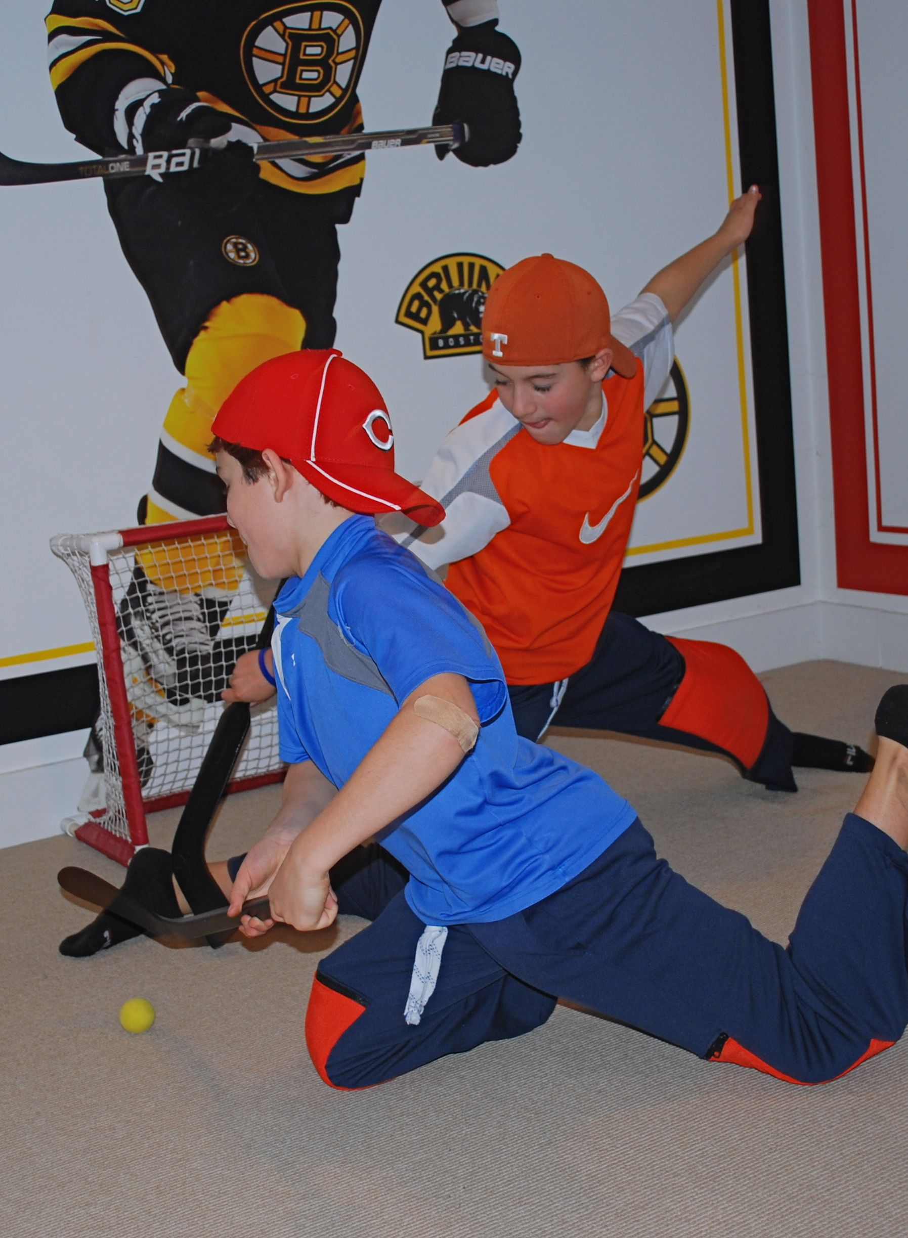 Playing Mini Hockey With Knockeys Knee Hockey Pants Put The Pads In To Play And Take Them Out To Wear To The Rink To The Hockey Pants Hockey Room How To