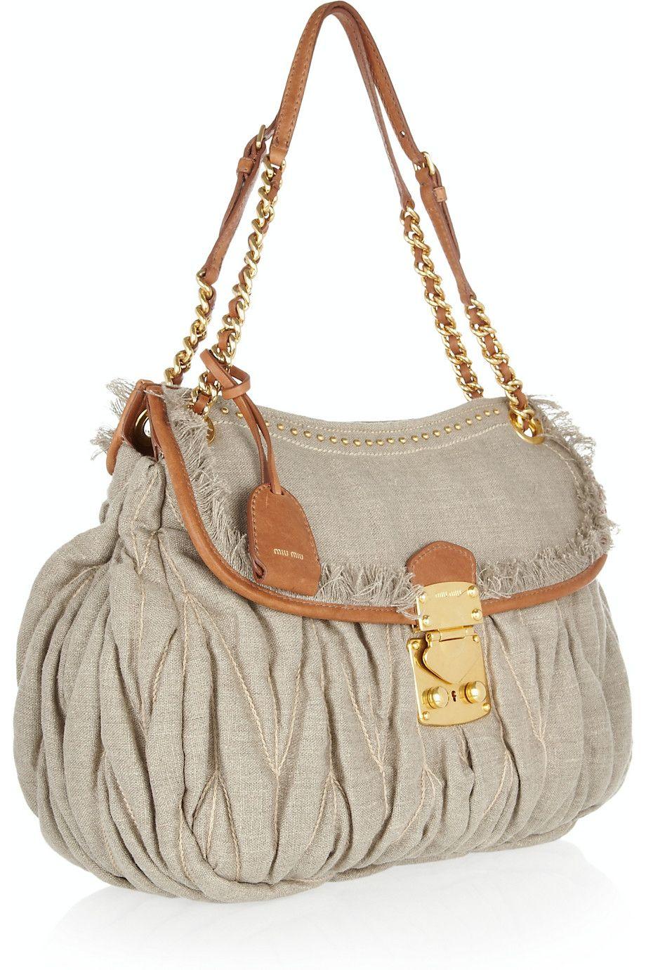 3f230fa8bc9f MIU MIU Leather-trimmed matelassé linen shoulder bag  1