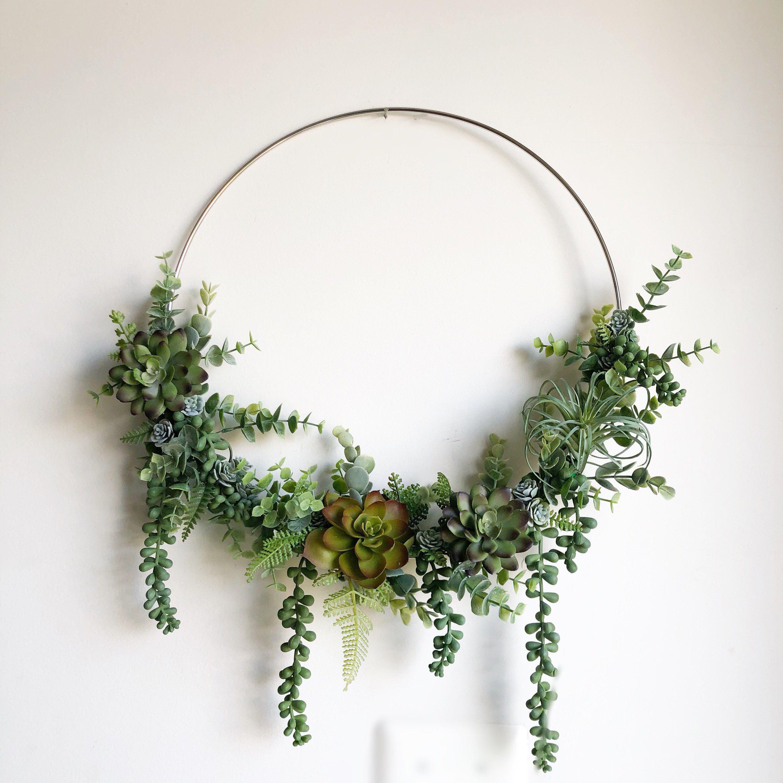 Photo of 14″ Succulent Wreath, Modern Hoop Wreath With Faux Succulents , Hoop Wreath, Minimalist Wreath, Modern Style Wreath, Farmhouse Style Wreath