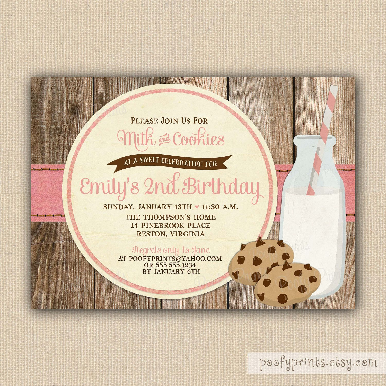 Rustic Milk And Cookies Birthday Invitations