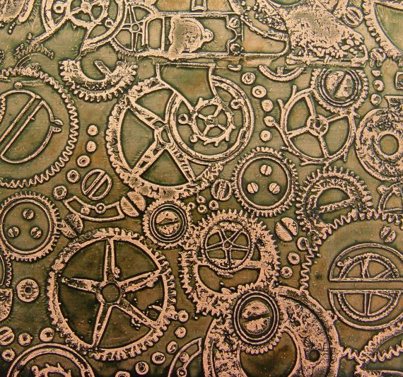 Etched Copper Sheet Steampunk Olive Green Patina 4x3 Inches Etsy Etched Copper Steampunk Patterns Copper Sheets