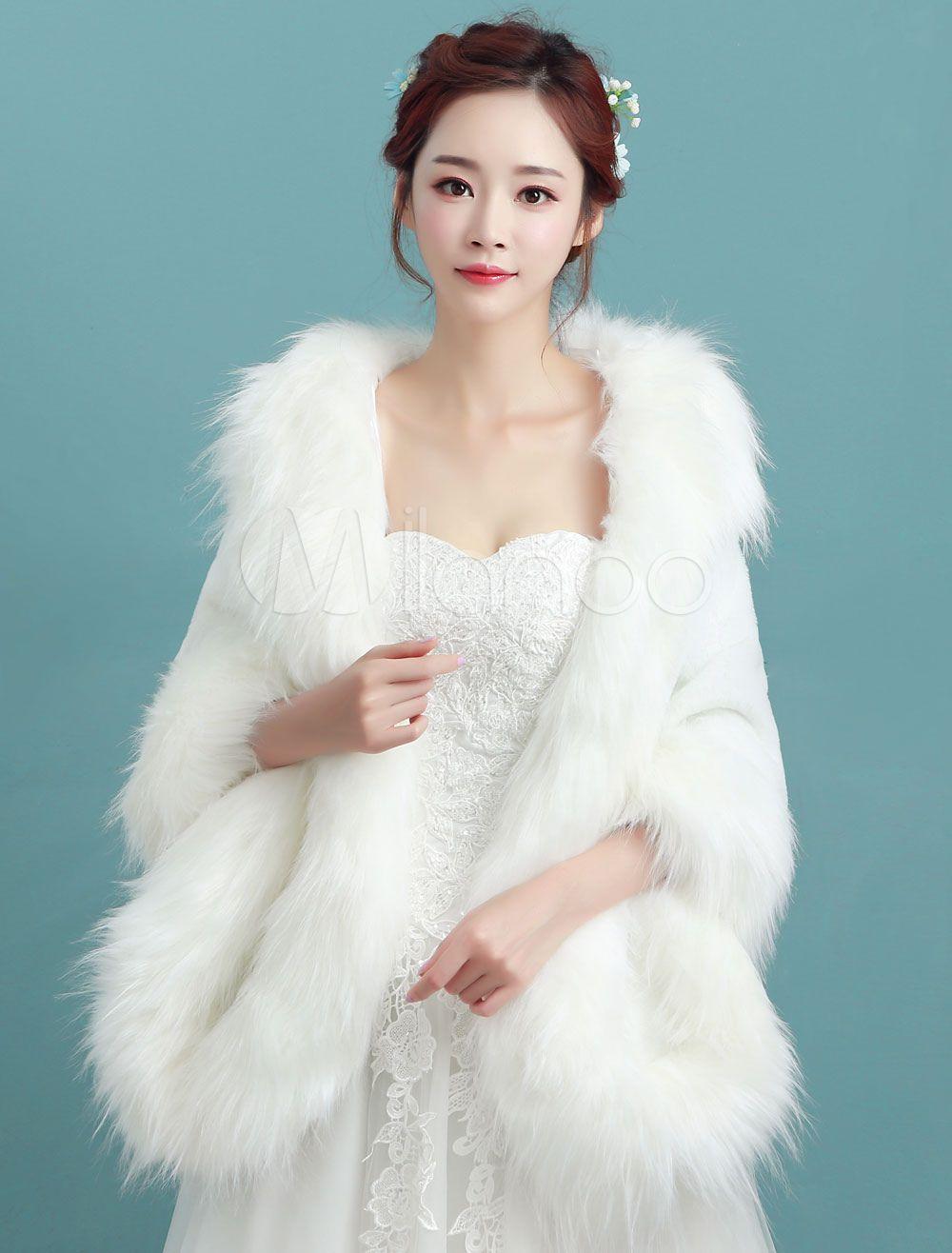 Faux fur stole ivory wedding long bridal winter wrap
