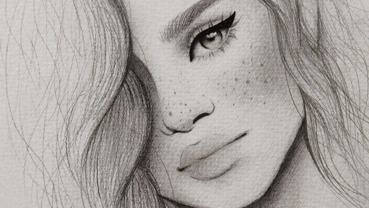 تعليم الرسم بالرصاص كيف ترسم بورتريه بسيط لفتاه مع شعر مموج للمبتدئين Youtube Art Drawings Artist