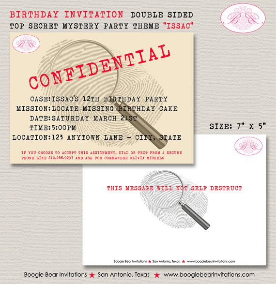 Spy Party Invitations digital file only – Top Secret Party Invitations