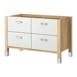 VÄRDE base cabinet, white, birch/birch veneer Width: 133 cm Depth ...