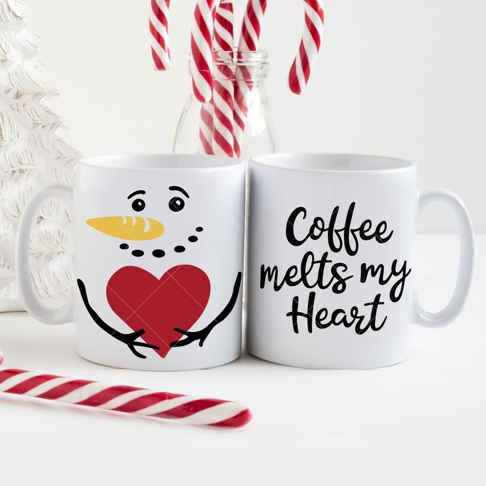 Coffee melts my Heart Snowman for Mug svg png dxf eps