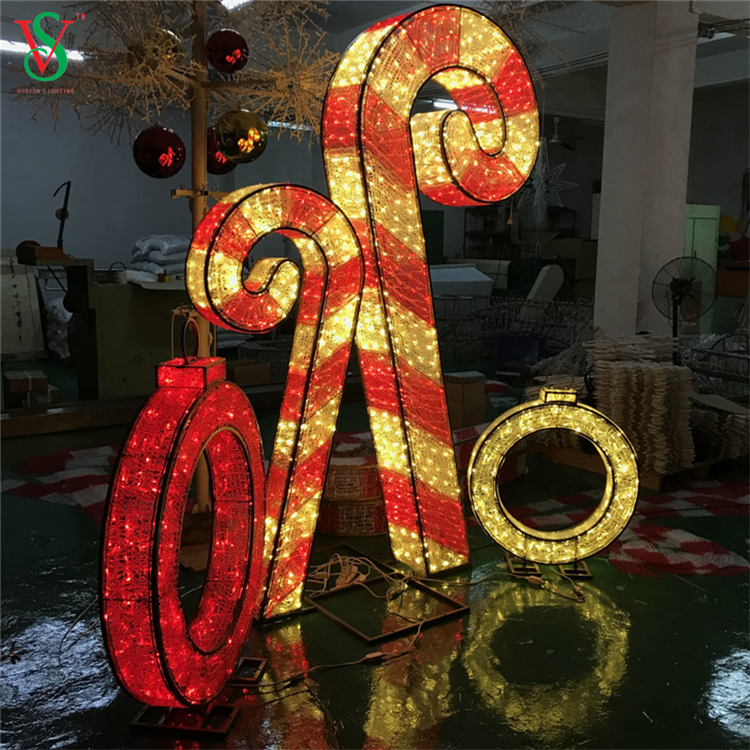 Crystal Candy Cane Light 3d Candy Cane Christmas Motif Lights For