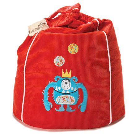 King Kurtis bean bag in red https://www.cocooncouture.com/monster_couture.php