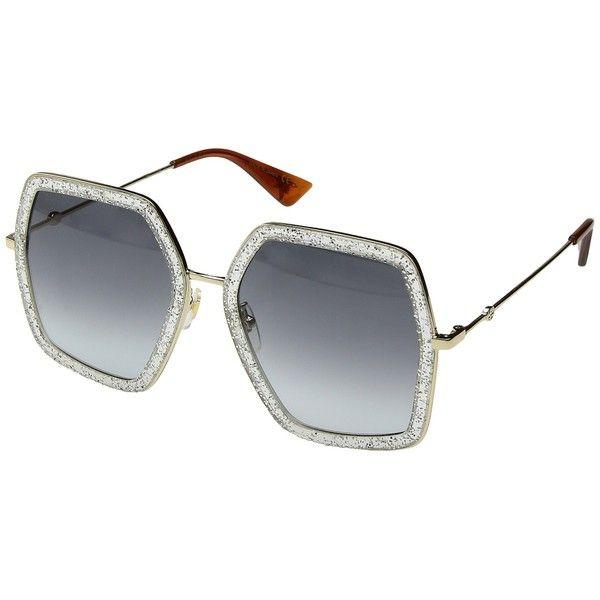 5df39e0c3e1f3 Gucci GG0106S (Silver Glitter Gold Grey Gradient) Fashion Sunglasses ( 400)  ❤ liked on Polyvore featuring accessories