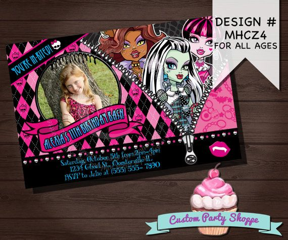 Monster High Birthday Invitation Monster High By Custompartyshoppe