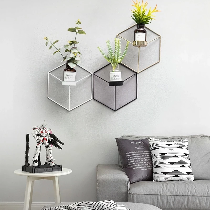 Minimalist Geometric Nordic Style Iron Candle Holders For Small Tealight Candles Simple Elegant Interior Wall Decor Scandinavian Home Styling Wall Candle Holders Decor Shelves