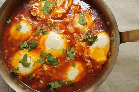 Moroccan Merguez Ragout with Poached Eggs recipe: Spice up breakfast. #food52