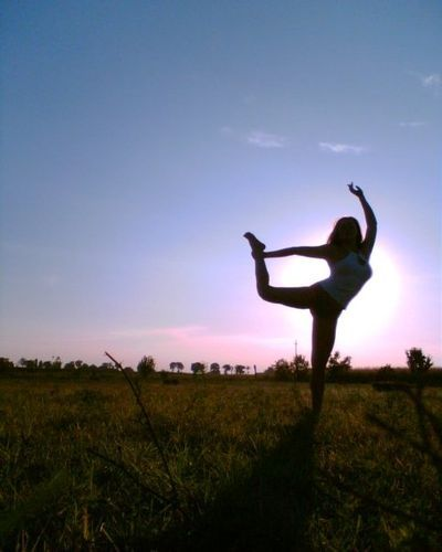 "Yoga Poses Around the World: ""Alessandra F. in the countryside near Contrapò (Ferrara - Italy)."""