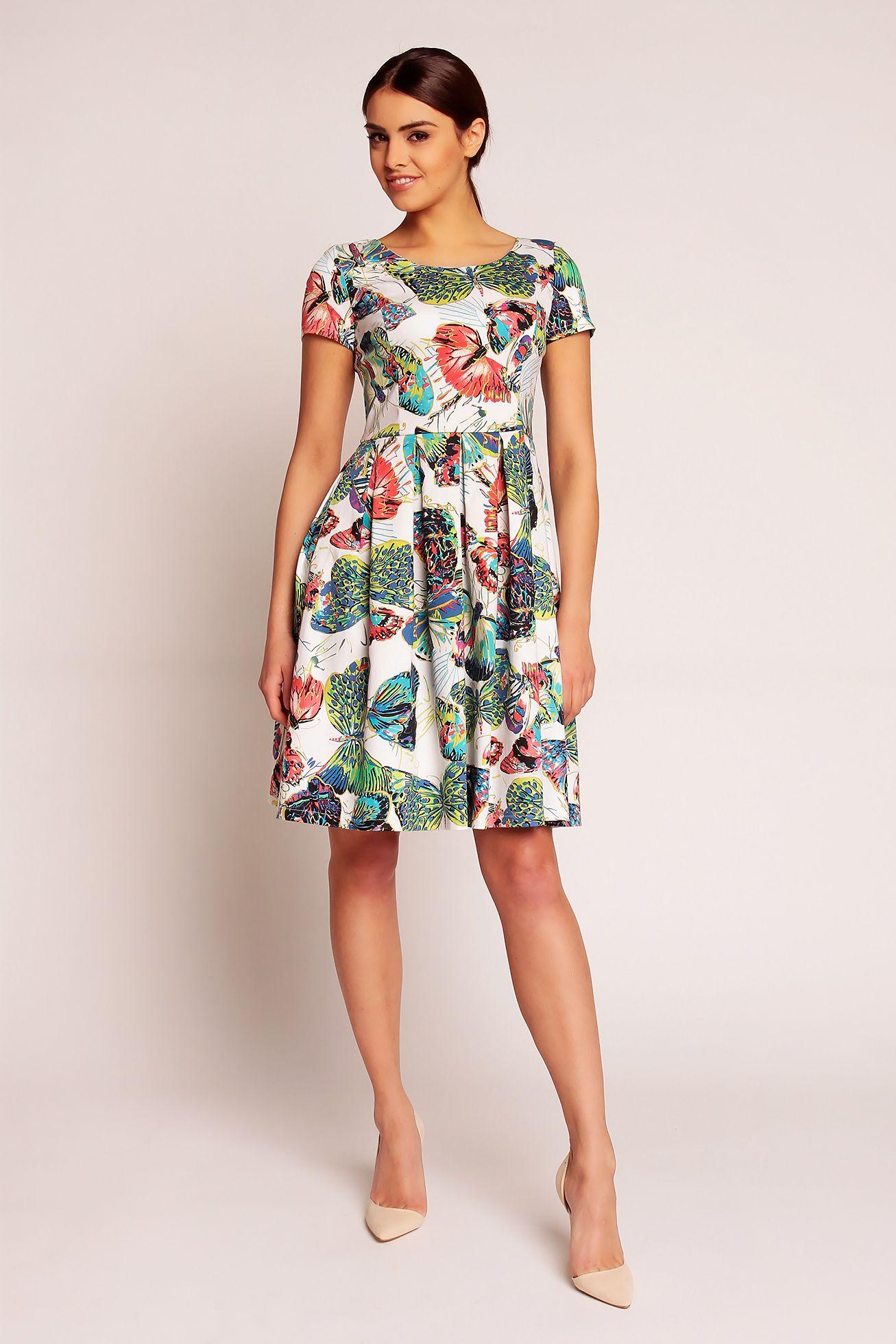 971086b284e Wiosenna rozkloszowana sukienka w motyle z dekoltem w łódkę ...