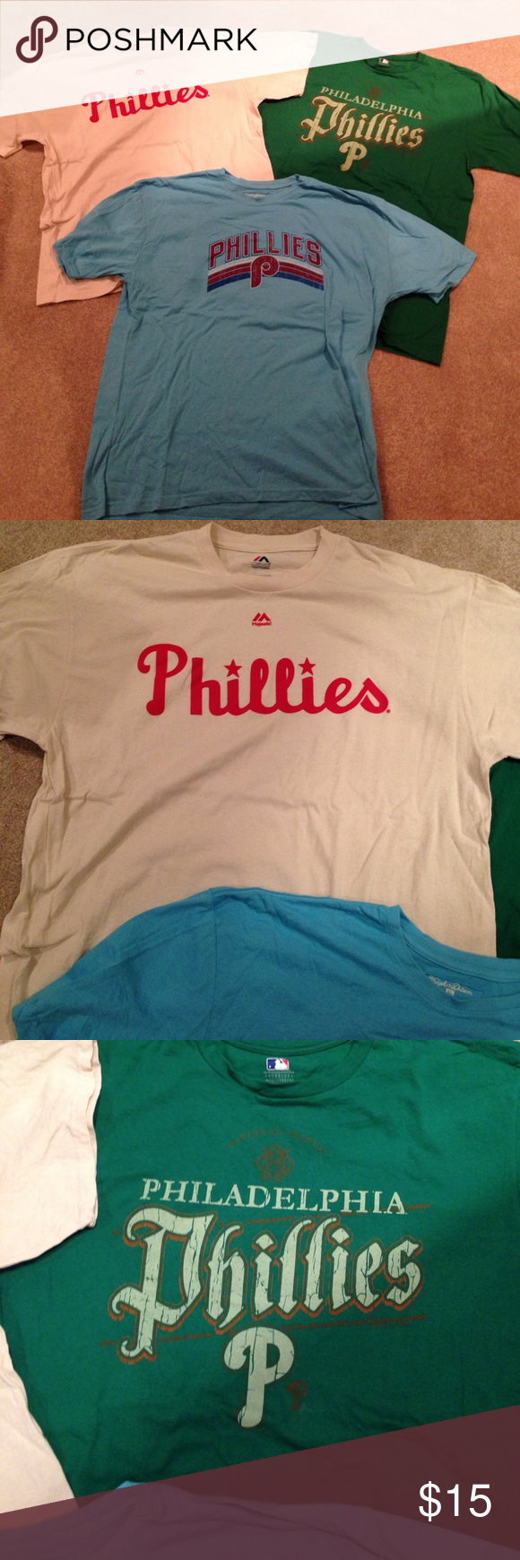 Bundle of 3 Men's Phillies Shirts Bundle of 3 Men's Phillies Shirts. One is off white with red lettering. One is green and one is light blue. All 100% cotton. Shirts Tees - Short Sleeve