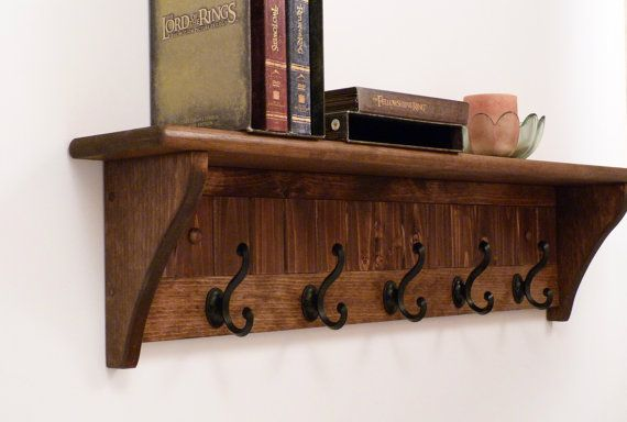 Entryway Coat Rack Wood Wall Shelf 35 Inches Full Color