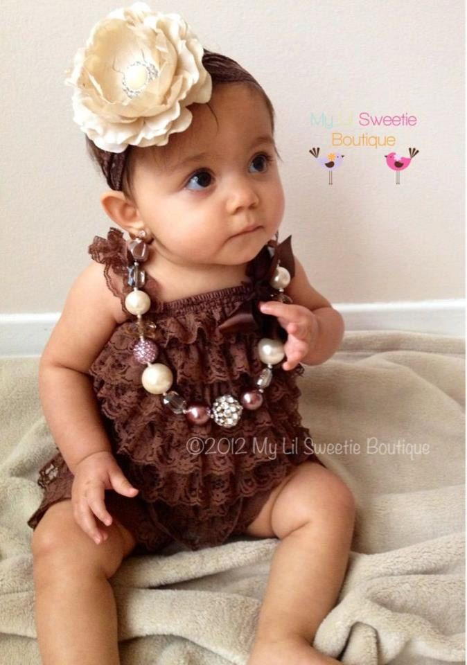 2b9f4f4e440 Chocolate Brown Vintage Lace Petti Romper - Newborn Outfit - Baby Girl  Outfit - Toddler- Christmas Outfit.  18.95