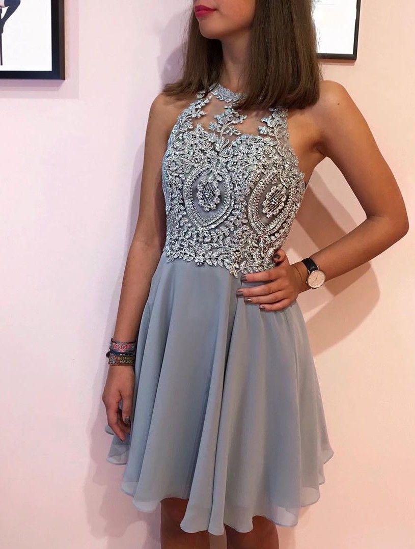Designer Cocktailkleider Kurz  Silber Abiballkleider Mit