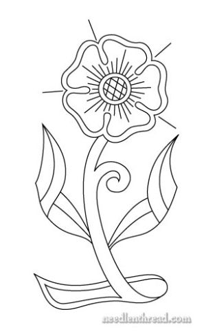 Free Hand Embroidery Pattern Morris Style Rose By Amalia Patterns