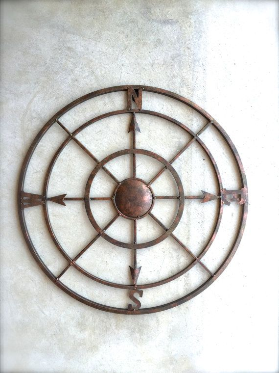 "21"" and 30"" Compass, Nautical Decor, Metal Compass Wall Art, Metal Wall Art, Nautical Compass, Nautical Wall Decor, Rustic Decor, Industrial"