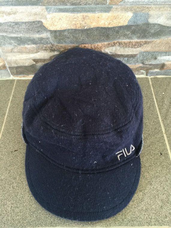 5c2eb913 Big Sale Fila Pillbox Hats Worker Fila Reversible Hat Vintage Fila ...