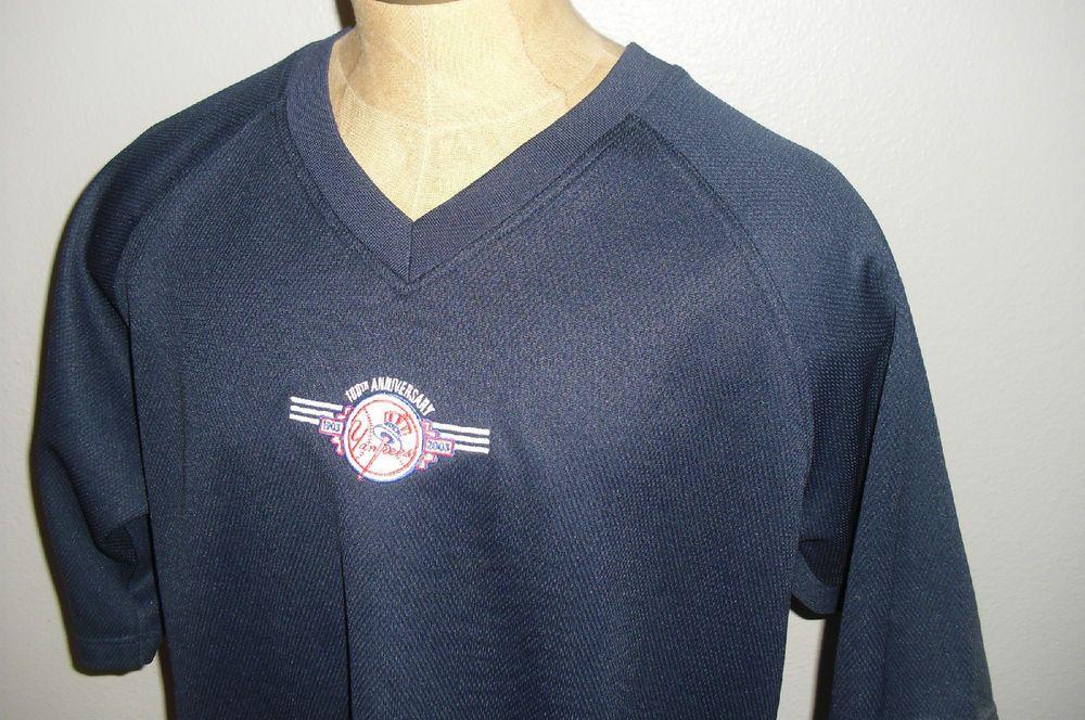Adidas New York Yankees 100th Anniversary Pullover Jersey Navy Blue Mens XL #adidas #NewYorkYankees