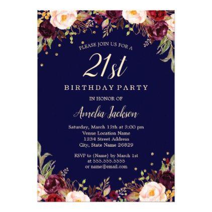 Burgundy Navy Elegant Floral 21st Birthday Party Invitation Zazzle Com 100th Birthday Party 60th Birthday Party Invitations Birthday Party Invitations