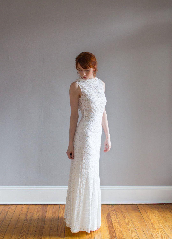 1930\'s Lace Wedding Gown with Bolero / Art Deco / Bias cut / Low ...