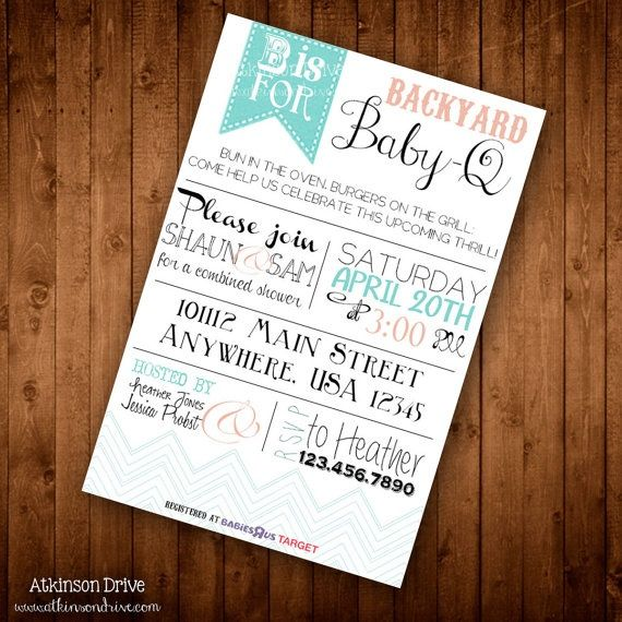 Printable Backyard BBQ Couples Baby Shower Invitation Party