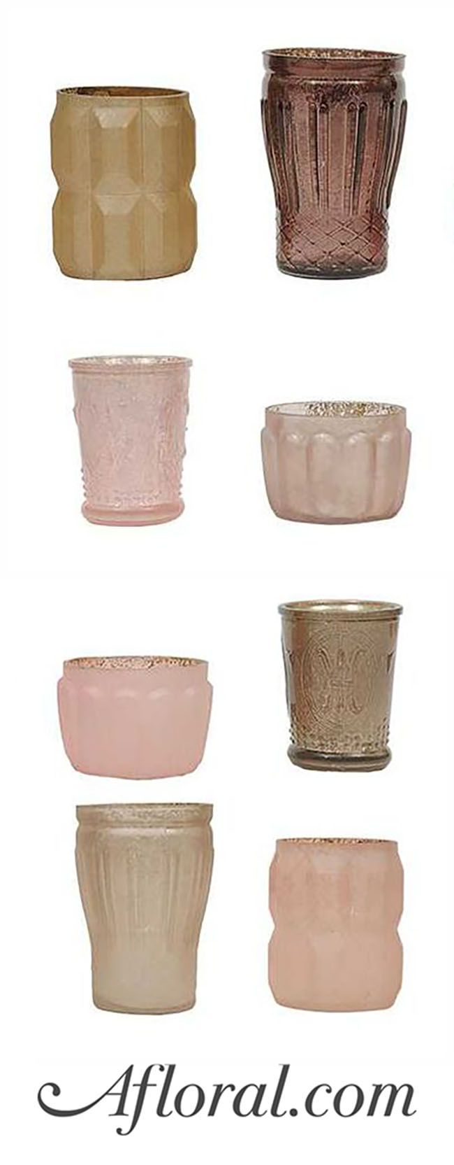 Gorgeous mercury glass tea light holders in cream, blush pinks, and taupe with an antique, vintage look. Just add candlelight to these beautiful glass votives to create a stylish wedding centerpiece!