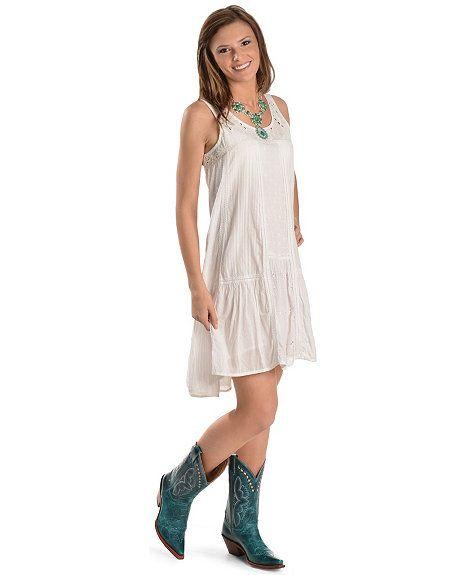 White Eyelet Lace Trim Sleeveless Dress