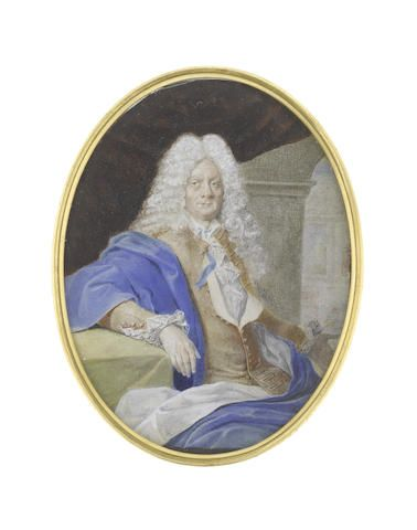 Continental School, circa 1700 A Gentleman, seated before a stone arch and blue drapery with his left arm outstretched, wearing tan coat, white lace chemise and blue ribbon, his long powdered wig falling in curls over his shoulders, his white-lined blue mantle draped about him