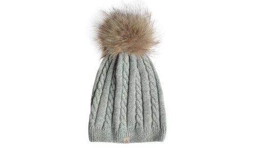 ET-TU knit hut cable hut / fur light grey
