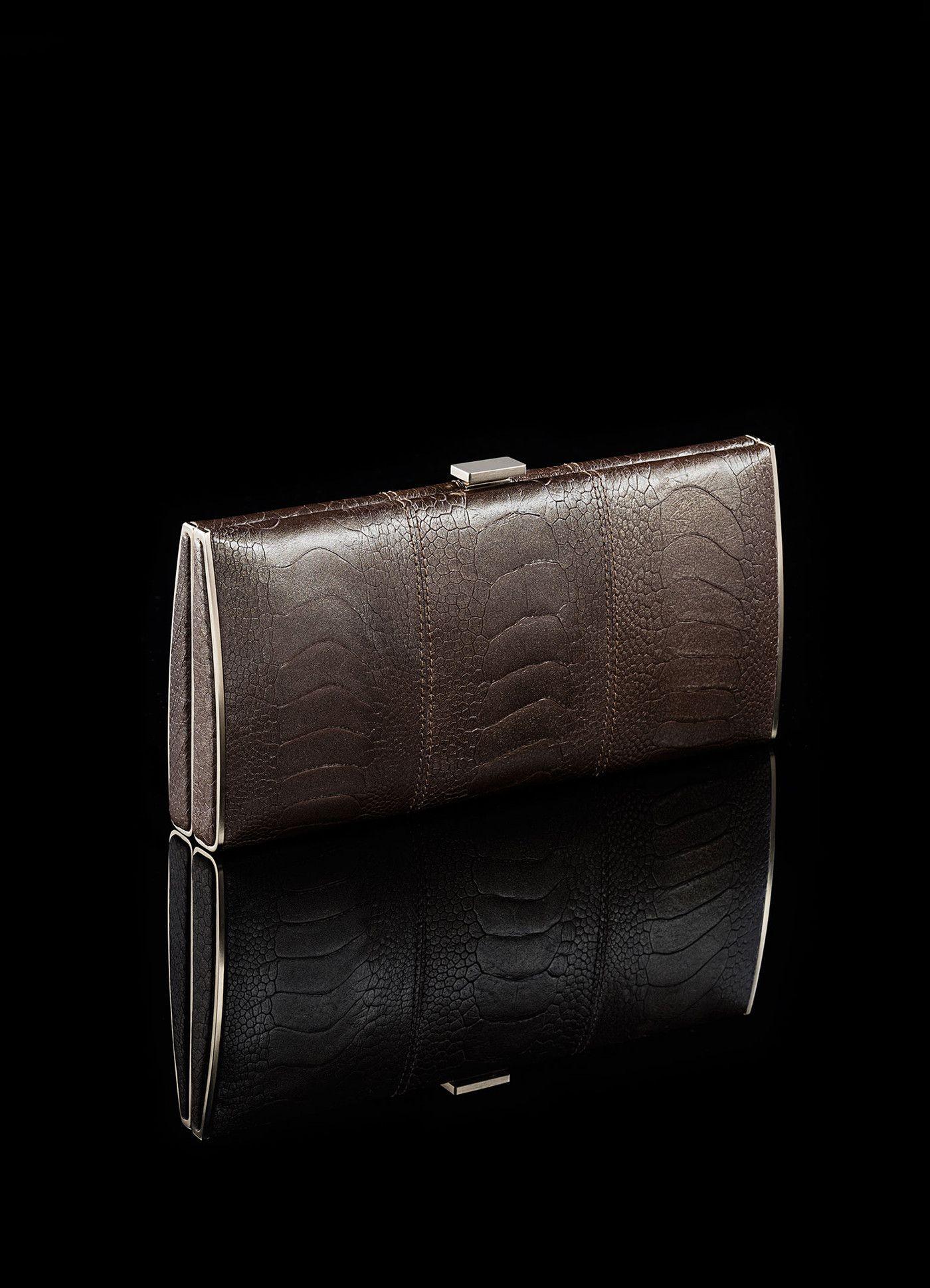 Box Wallet - Ostrich Leg, Bronze Metallic