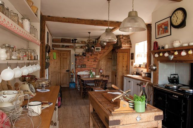 kitchen, dresser, beams, brick
