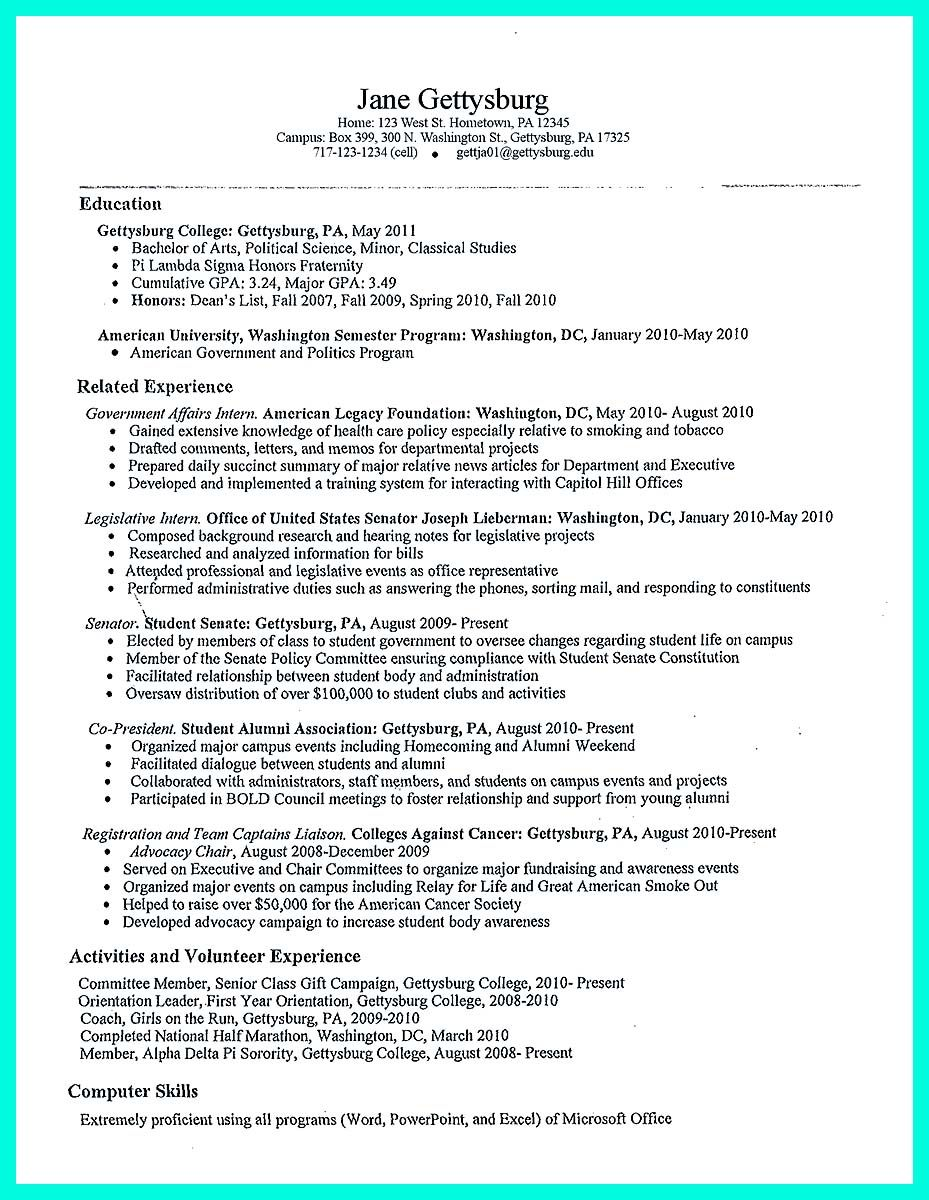 Resume Builder Uga Nice The Perfect College Resume Template To Get A Job  Resume