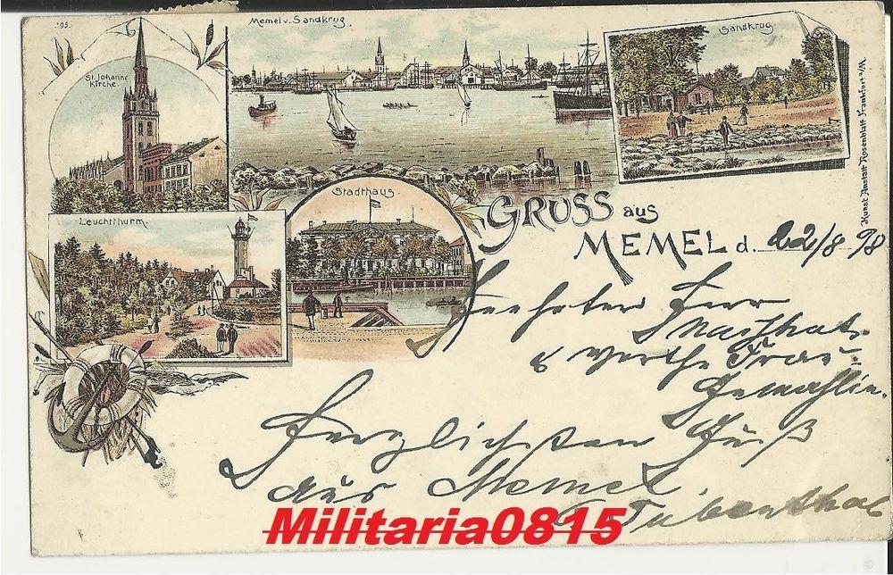 AK Ansichtskarte 1898 Gruss aus Memel Klaipėda Lithografie Litho Karte rrrrrrrrr