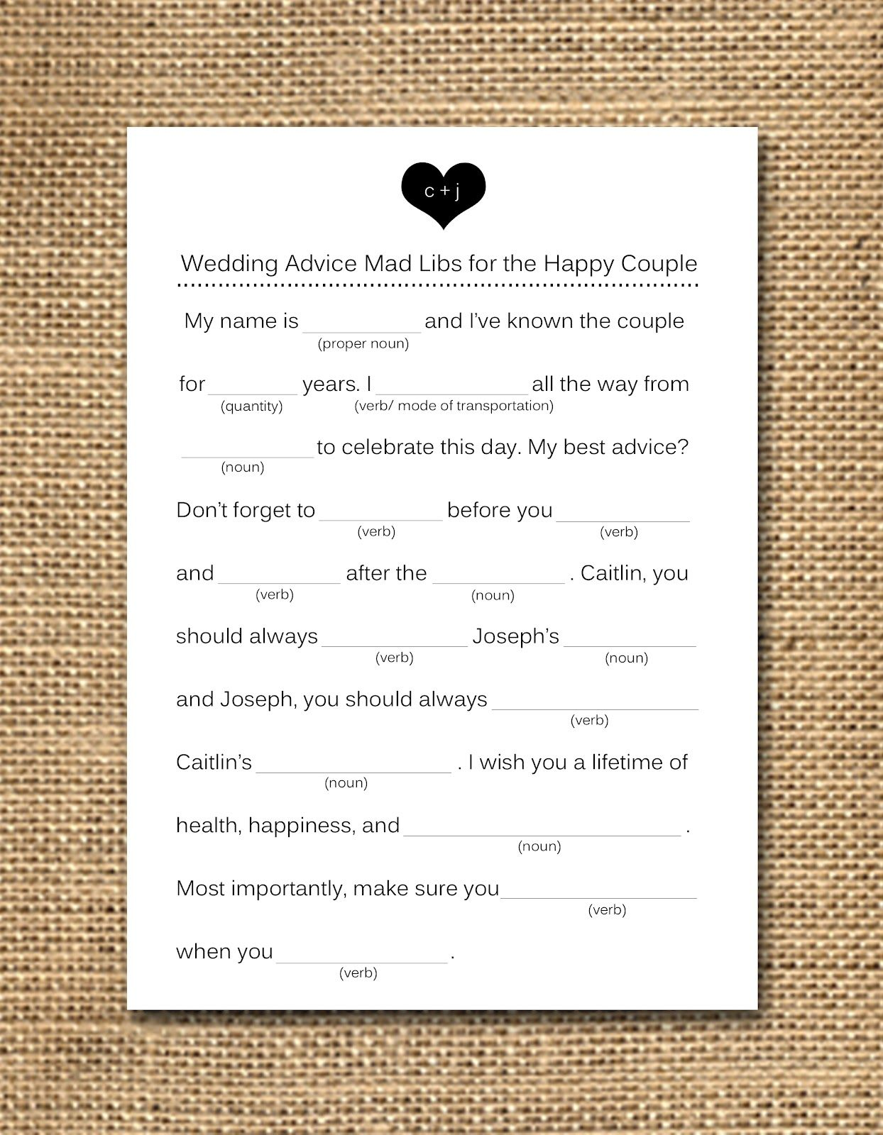 Wedding mad libs wedding shower game things i love for Guest libs wedding edition template