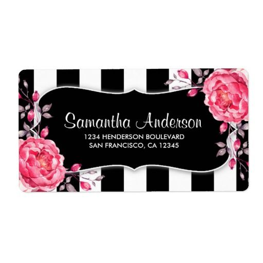 Floral Black And White Stripe Pink Peonies Label  Peony Striped