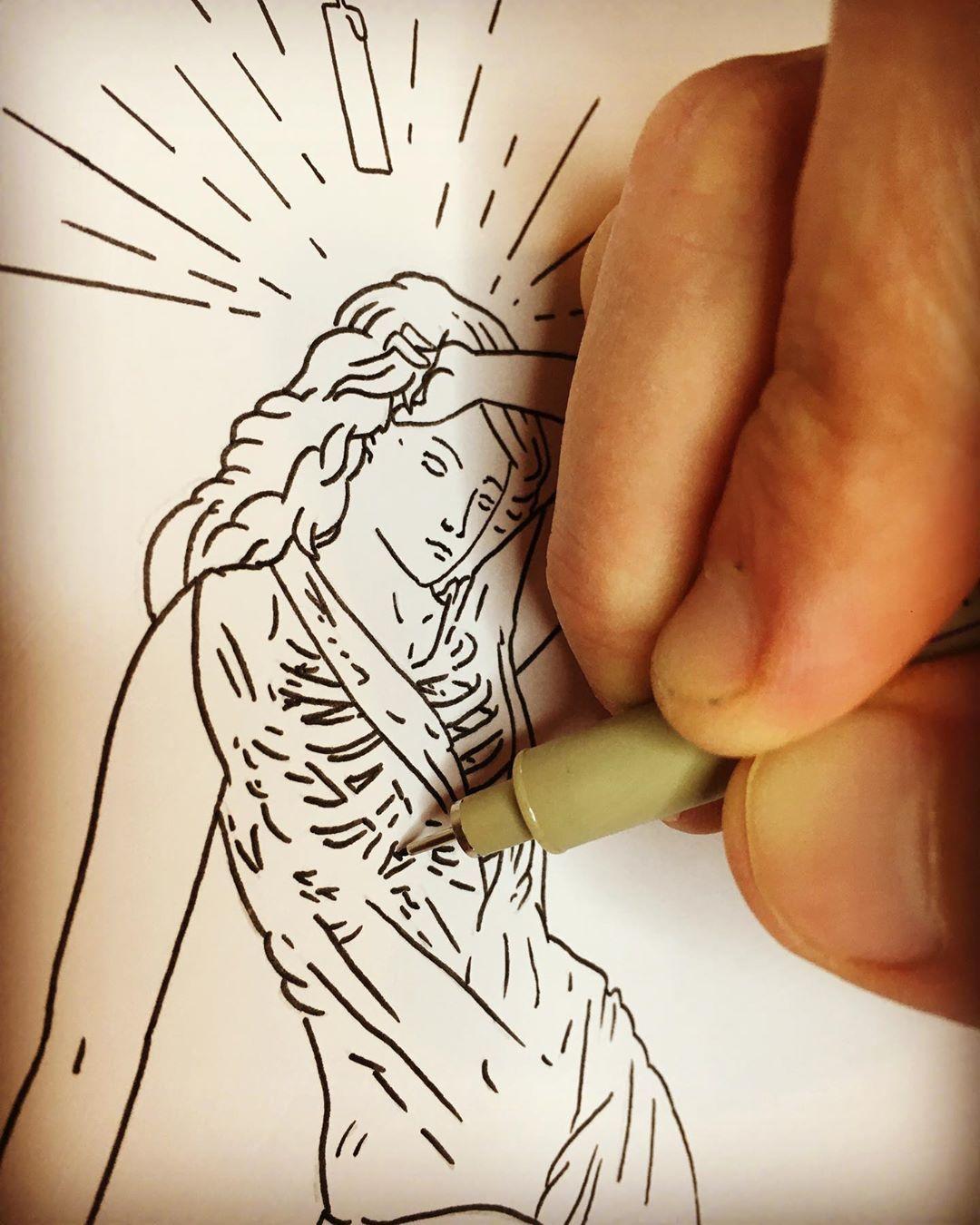 "Matthew Britton Illustration on Instagram: ""Work in progress. Tarot Card Design. #inkdrawing #pendrawing #inksketch #gothic #penandink #blackwork #blackandwhite #studiolife #wip…"""