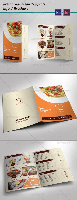 Restaurant Menu Template BiFold Brochure  Restaurant Menu
