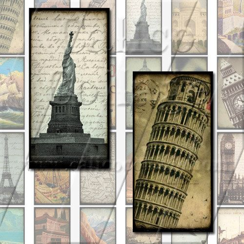 NEW World Travels  Digital Collage Sheet  1x2 by calicocollage, $3.75