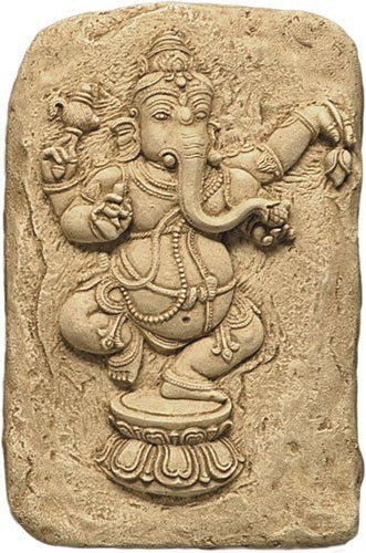 """Lord Ganesh Dancing Wall Relief by Museum Store Company. $16.05. Weight: 3 lbs, ship wt: 5 lbs, ship box: 15x11x7. Type: Precision Museum Store Company replica/reproduction wall plaque. Material: bonded stone. Size: 10""""H (25cm). This beautiful dancing Ganesh wall relief is most beautifully carved for your home decor. Lord Ganesh is the Hindu God of Knowledge and Wisdom. This wall relief measures 10 inches tall.. Save 55% Off!"""